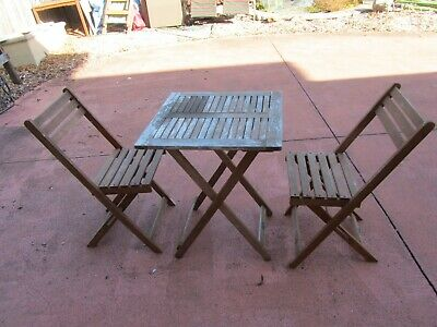 Timber outdoor setting, 2 chairs 1 table, folds down flat for storage or travel