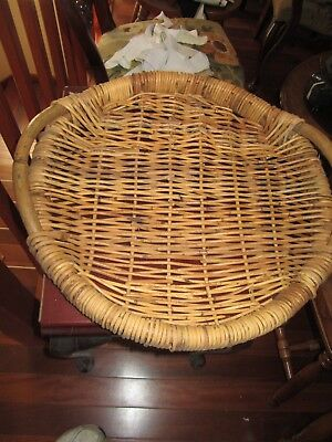 Vintage Kitchen Wicker Cane Sided Serving Tray , 51 x 51 cm