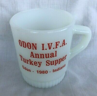 1980 Fire King Advertising Coffee Cup Mug ODON INDIANA Volunteer Fire Dept IVFA