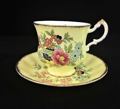 Paragon Oriental Series Canton Yellow Floral tea cup and saucer England
