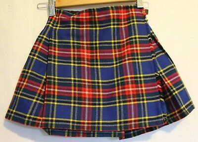VINTAGE 1970'S ~ Girls Courtelle Wool Royal Blue red Green Yellow Tartan Kilt 6
