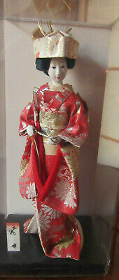 """Vintage Japanese Porcelain Traditional Red Bride Style 10"""" Doll"""