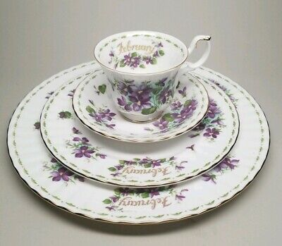 Royal Albert Flower of the Month Series FEBRUARY Tea Cup Plate 4 Pc Set VIOLETS