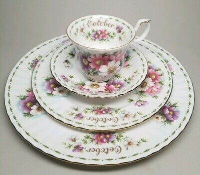 Royal Albert Flower of the Month Series OCTOBER Tea Cup Plate 4 pc Set COSMOS