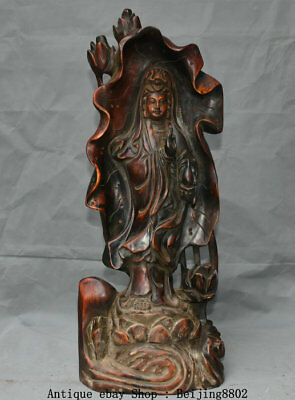 """23"""" Old Chinese Boxwood Hand Carving Stand Kwan-yin Guan Yin Lotus Leaf Statue"""