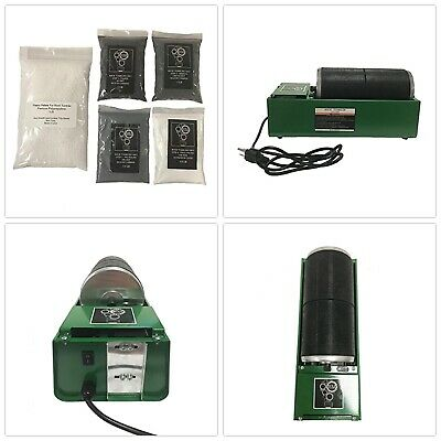 Green Single Drum 6lb Rotary Rock Tumbler w Grit Pack Combo