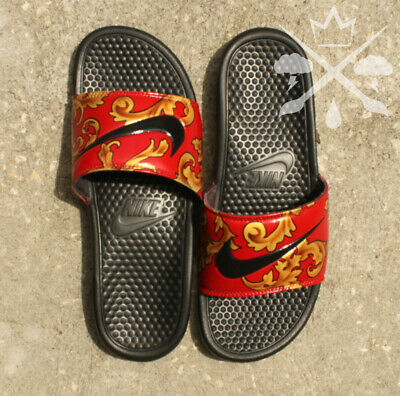 e8a097d343105 NIKE RED SUPREME Foamposite Slides Custom Benassi Swoosh Sandals Flip flop