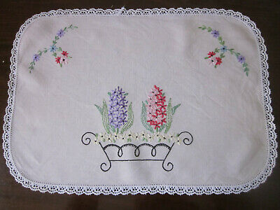 Hand Embroidered Hyacinths In Wrought Iron Planter Centrepiece
