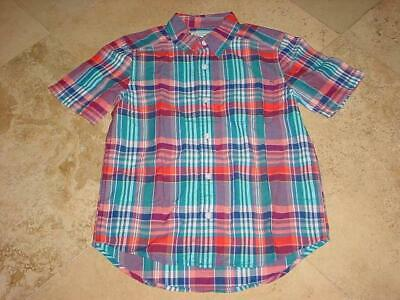 Nwt The Childrens Place Boys Button Front Short Sleeve Plaid Shirt Blue Sz L