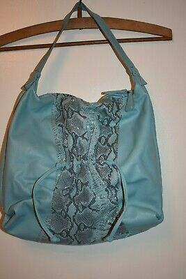Chi By Carlos Falchi Blue Leather Shoulder Bag Purse Snake