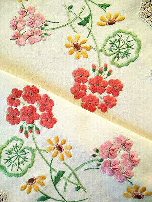 Beautiful Red & Pink Geraniums  Vintage Heavily Hand Embroidered Centrepiece
