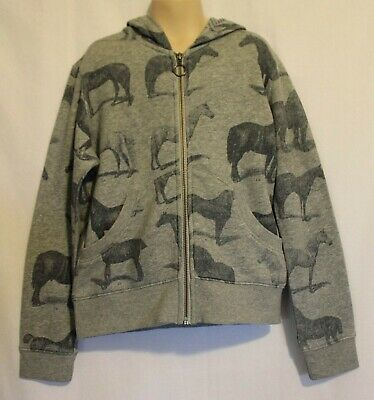 PAPER WINGS ~ Kids Grey Marle & Blue Horses Print Zip Front Hoodie jacket 8