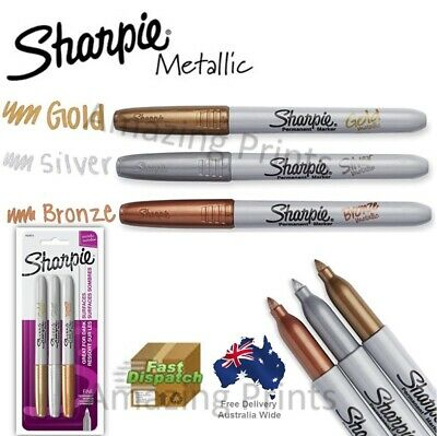 3x Genuine Metallic Sharpie Fine Point Permanent Marker Pens Gold Silver Bronze