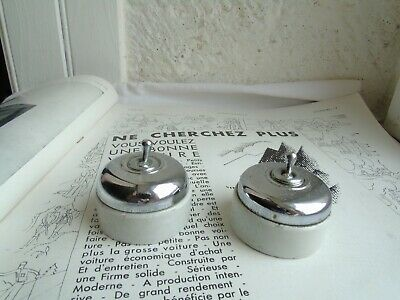 French set of 2 porcelain chrome metal switches   genuine classic style