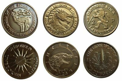 REPLICA : GAME OF THRONES Set di 6 Monete 1/2 Pennies  - Metallo - Trono Spade
