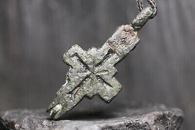 Ancient Viking Bronze Orthodox Cross, Christian Encolpion, 9th-11th century AD