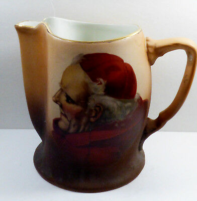 Antique VTG Warwick Ioga Red Cup Monk Cardinal Pitcher M36 handpainted