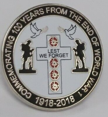 new design lapel badge commemerating WW1 1918 - 2018 lest we forget british army