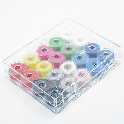 Bobbins W/ Thread Sewing Machine Spools Plastic + Storage Box For Sewing Machine