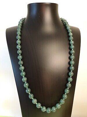 Extra Beautiful Antique Original Rare Chinese Jade Beads Necklace 67 Grams