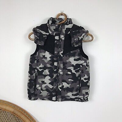 Witchery Boys Unisex Childrens Vest Size 8 Puffer Winter Camouflage Camo Hoody