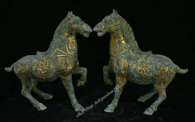 "12"" Chinese Old Antique Bronze Dynasty Palace Animal Horse Success Sculpture"