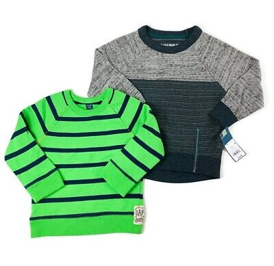 Baby GAP Oshkosh LOT Boys 3T Sweatshirt Green Navy Striped NWT Gray Pullover Top