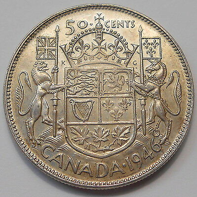 1946 Fifty Cents EF ** HIGH Grade SCARCE Date LOW Mintage George VI Canada Half