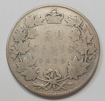 1870 LCW Fifty Cents G+ SCARCE 1st Queen Victoria KEY Date 1st Year Canada 50¢