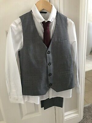 NEXT BOYS GREY 4 PIECE SUIT AGE 8 Perfect For A Wedding. Grab A Bargain!