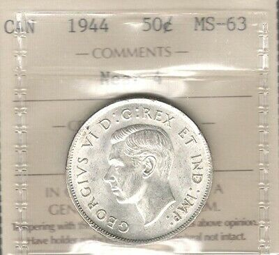 1944 NEAR 4 Fifty Cents ICCS MS-63 Beautiful BETTER George VI BU WWII Canada 50¢