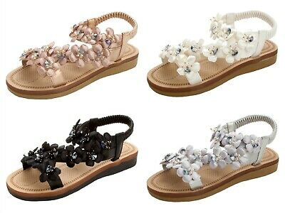 Womens Flower Beaded Comfort Cushion Sole  Slingback Summer Sandals Ladies Size