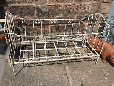 White Vintage French Antique Wrought Iron Day Bed Folding Shopfitting Or Dislay