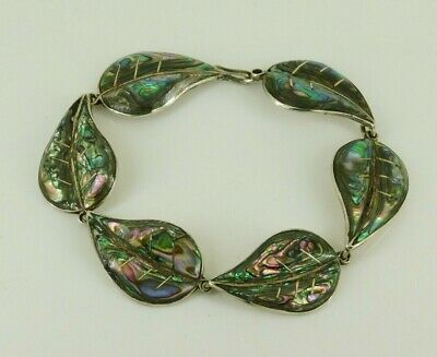 """Vintage Taxco Mexico 925 Sterling Silver Abalone Bracelet 7.5"""" Long"""