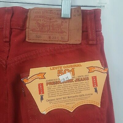 Levis 501 Red Jeans Denim USA Made 1993 Deadstock Student Mens 28x30 Low Rise