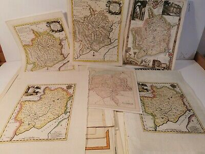 49 Monmouthshire + Hereford Maps. 1700s. Hand Coloured