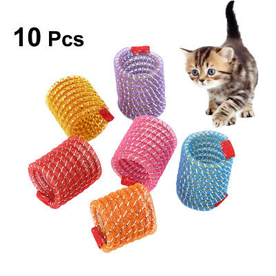10pcs Cat Toy Colorful Spring Plastic Bounce Pet Kitten Interactive Random Color