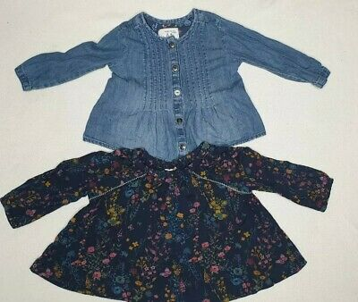 Next Girls Blue Denim Shirt & Floral Blouse Set 6-9 Months