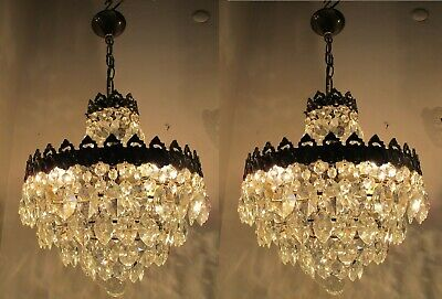 Pair of Antique Vnt BIG French Crystal Chandelier Lamp 1940's 14in Ø Rare
