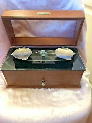 Antique Henry Troemner Scale model 3042 Glass and Oak 4oz Apothecary Pharmacist