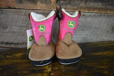 NEW Toddler's John Deere Girls Cowgirl Slippers Size Large (9/10) Magenta/Brown