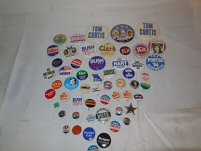 Button Lot Collection of 50+ different Political,Presidential,CAUSE, buttons