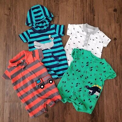 Baby Boy 3 Month Outfits Rompers Lot Carter's Clothes Bodysuits Shorts Dinosaur