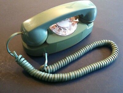 Vintage 1968 Western Electric 702 Rotary Dial Princess Telephone Moss Green -51