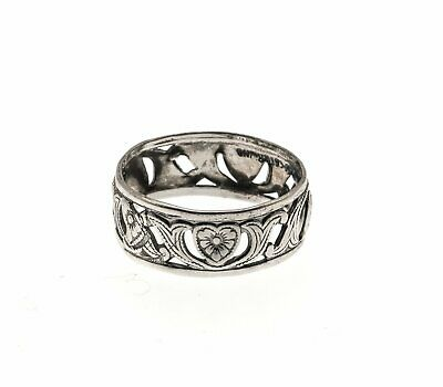 Art Deco Sterling Silver Heart & Scroll Ring