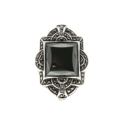 Art Deco Nights - Art Deco Sterling Silver Hematite & Marcasite Ring