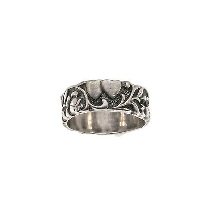 Flowers & Vines - Art Deco Sterling Silver Double Heart Ring