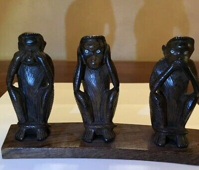 Hear, See and Speak No Evil Wood Carved MONKEYS on a Stand (429-9)