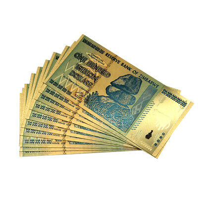 10pcs bundle Zimbabwe 100 Trillion Dollars Banknote Gold Foil Collection