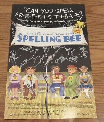 """Cast Signed 25th Annual Putnam County Spelling Bee Musical Circle Theater 14x22"""""""
